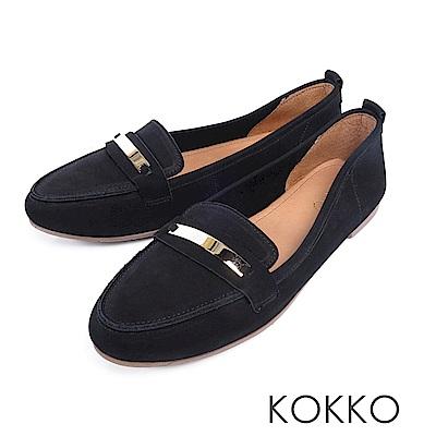 KOKKO - 極致舒適寬楦牛皮平底休閒鞋 - 霧面黑