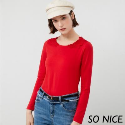 SO NICE簡約鏤空蕾絲圓領上衣