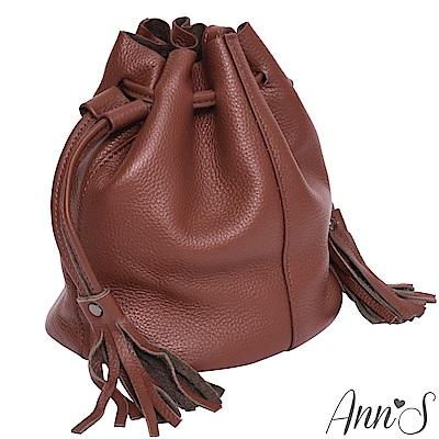 Ann'S有點帥氣時-真牛皮mini流蘇水桶包-磚紅
