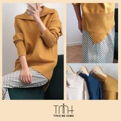 韓國大翻領針織上衣-3色-TMH