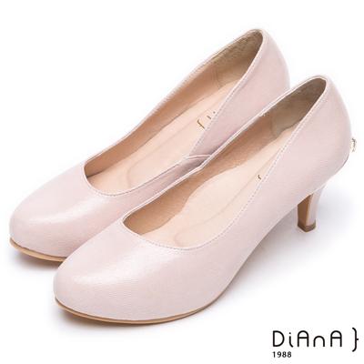 DIANA 素雅美人--真羊皮純色乾淨高跟鞋-裸粉