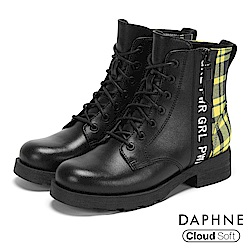 達芙妮DAPHNE 短靴-異材質拼接字母標語綁帶短靴-黑