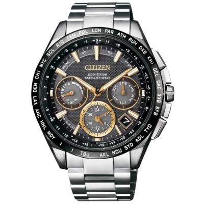 CITIZEN Eco-Drive  宇宙航道衛星對時腕錶-銀x金時刻