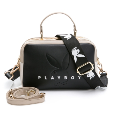 PLAYBOY-  斜背包附長及寬版背帶  玩色繽紛系列 -黑色