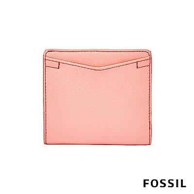 FOSSIL Caroline 輕甜玩美RFID真皮短夾-粉橘色