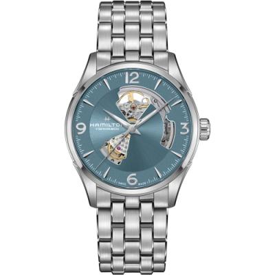 HAMILTON漢米爾頓 JAZZMASTER爵士系列OPEN HEART 80小時自動腕錶-湖水藍