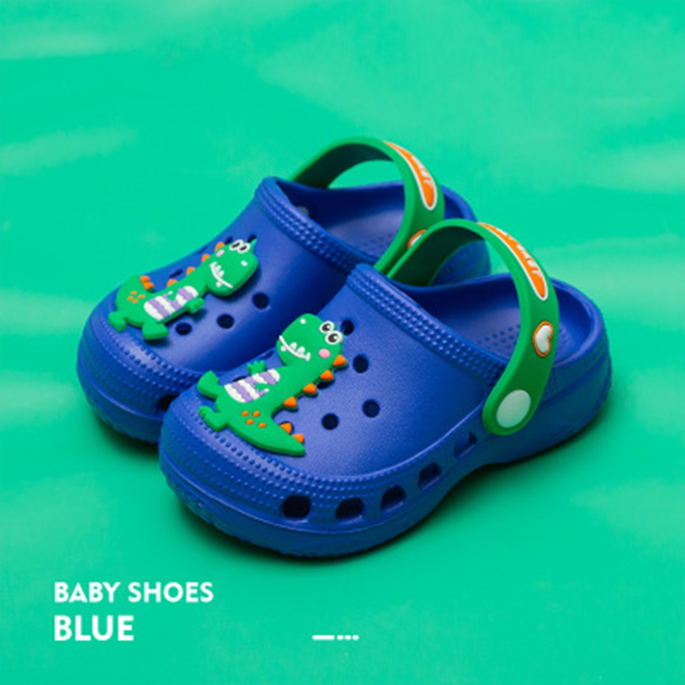 Cheerful Mario 洞洞涼鞋-動物款-恐龍藍