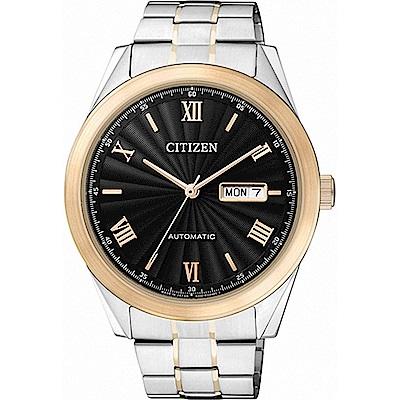CITIZEN星辰 羅馬帝國專業機械錶(NH7514-59E)-黑x金/41mm