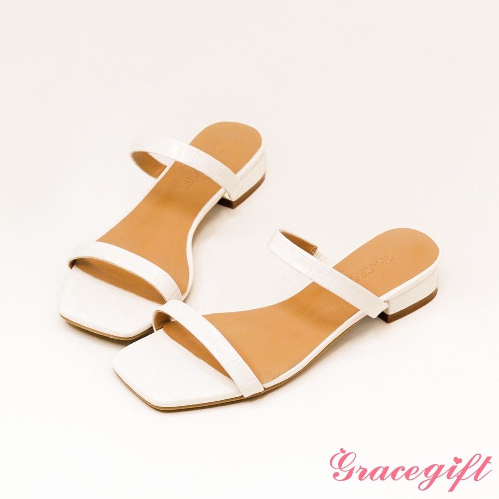 Grace gift-一字雙細帶低跟涼拖鞋 白壓紋