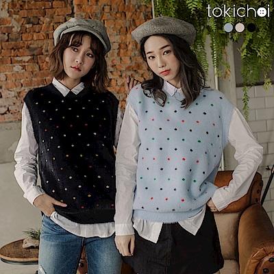 東京著衣 多色買到划算點點兔毛兩件式上衣(共三色)