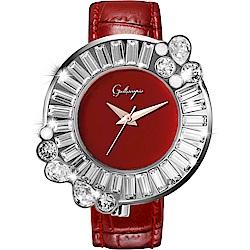 Galtiscopio迦堤  閃轉浪漫系列幾何手錶-紅/36mm