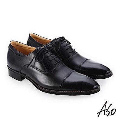 A.S.O 勁步雙核心 義式鞋型真皮鞋 黑
