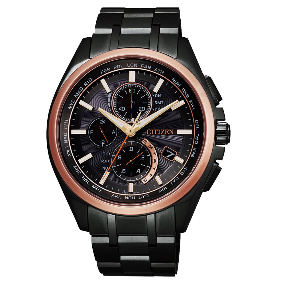 CITIZEN 時尚玫瑰金框鈦金屬三眼計時手錶錶(AT8046-51E)-42mm