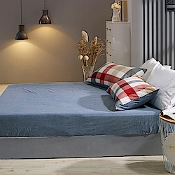 鴻宇 單人床包枕套組 色織水洗棉 英格蘭 台灣製