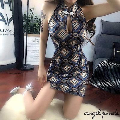 幾合網格露胸改良式旗袍開叉包臀洋裝-天使波堤