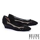 高跟鞋 HELENE SPARK 晶鑽雕花鏤空麂皮楔型高跟鞋-黑