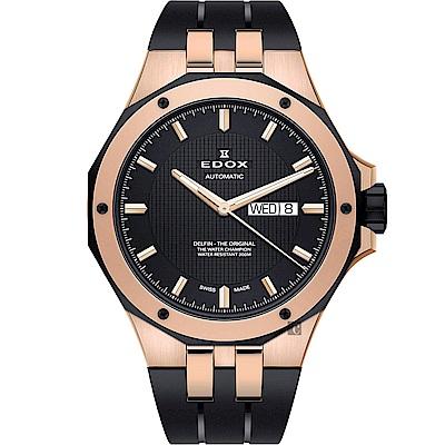 EDOX Delfin 海豚系列 專業200米日曆機械錶-黑x玫塊金框/43mm