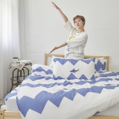 BUHO 天然嚴選純棉雙人加大三件式床包組(北鼻鯊嘟嘟)