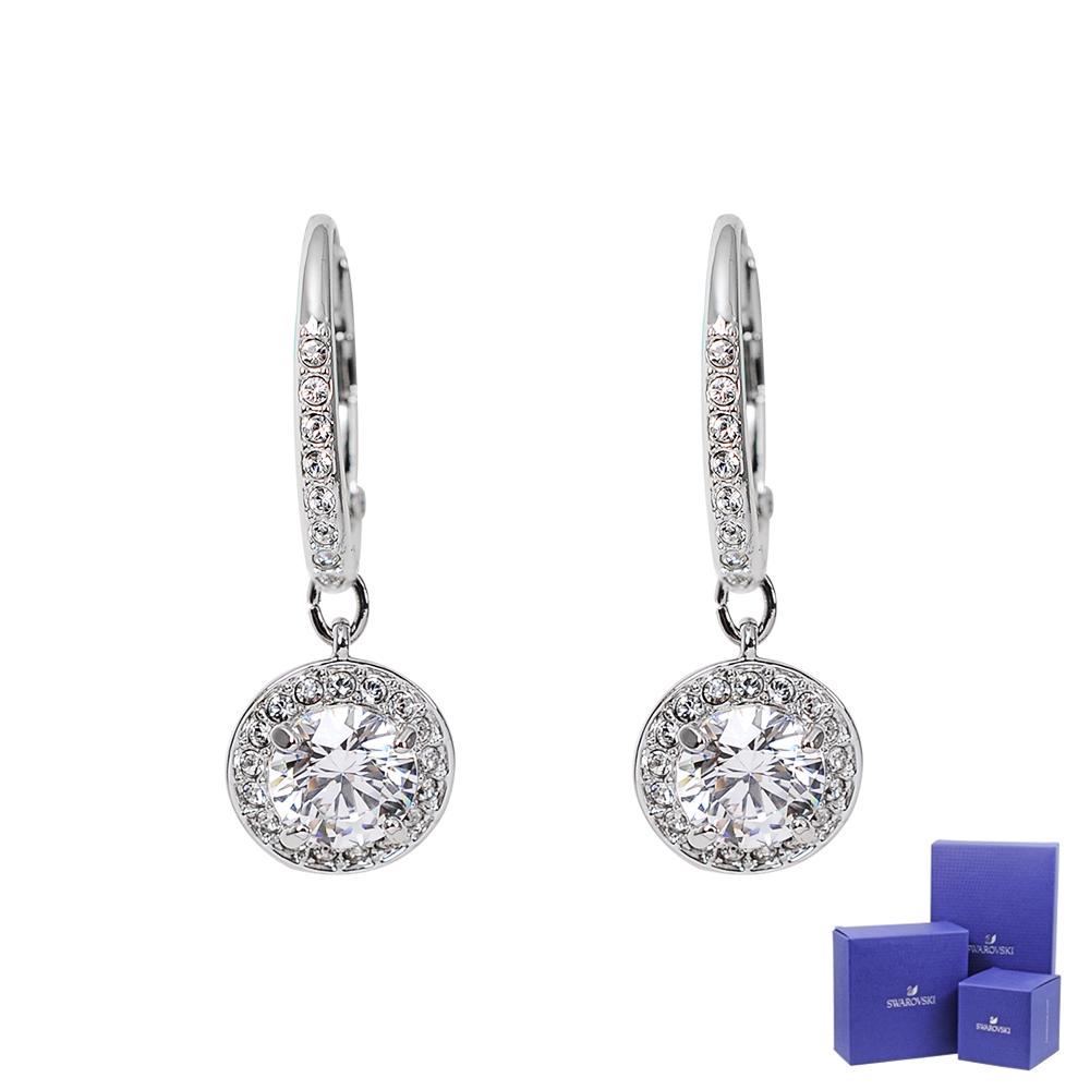 SWAROVSKI 施華洛世奇 璀璨水晶圓形造型銀色垂墜耳環