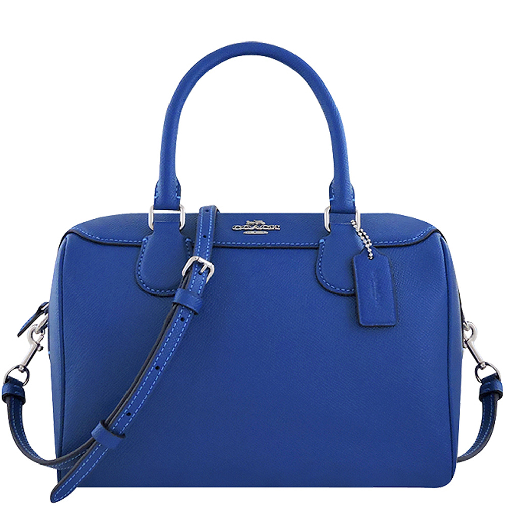 COACH 寶藍色防刮皮革手提/斜背兩用包COACH
