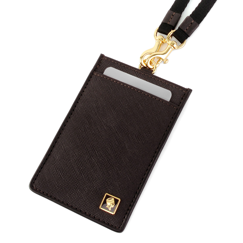 PORTER - 法式時尚BEND掛繩證件套 - 咖