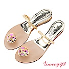 Grace gift-美少女戰士月光心鑽夾腳條帶拖鞋 淺金