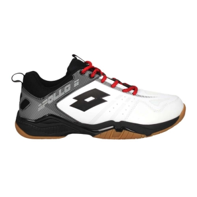 LOTTO 男專業羽球鞋-運動 訓練 反光 LT0AMI2588 白黑灰紅