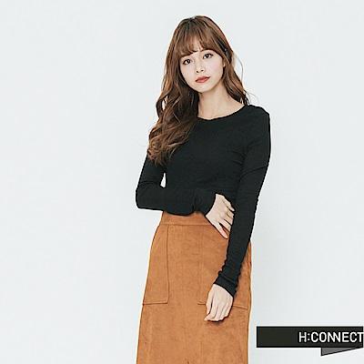 H:CONNECT 韓國品牌 女裝-合身圓領純色上衣-黑