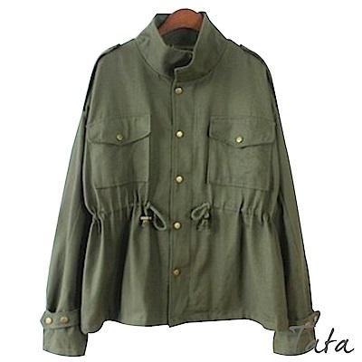 寬鬆收腰軍裝風衣外套 共二色 TATA