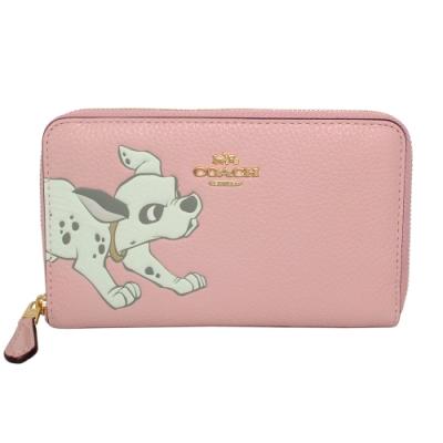 COACH x Disney粉紅全皮101忠狗ㄇ型拉鍊中長夾