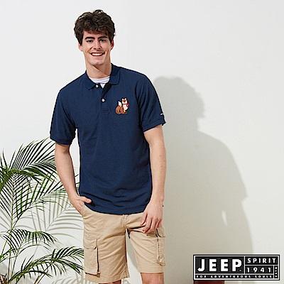 JEEP 簡約狐狸圖騰舒適短袖POLO衫-藍色