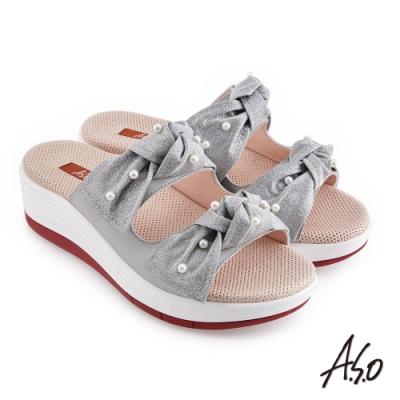 A.S.O 時尚流行 輕穩健康鞋金蔥布料條帶拖鞋-淺灰