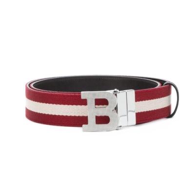 BALLY B BUCKLE 35 B字母釦紅白織帶雙面用咖牛皮腰帶