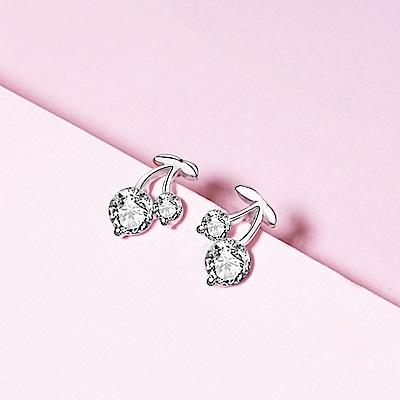 米蘭精品 925純銀耳環-鑲鑽小巧櫻桃耳環