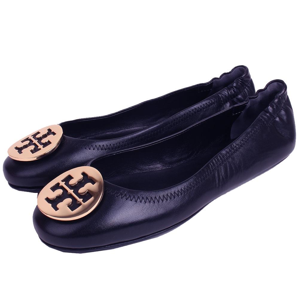 TORY BURCH 金屬盾牌飾折疊平底鞋(黑夜藍)