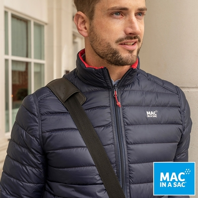 【MAC IN A SAC】男款輕暖袋著走雙面羽絨外套MNS126紅深藍/輕量保暖/收納體積小
