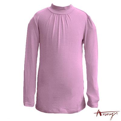 Anny百搭超親膚小高圓領抓褶天絲長袖上衣*4450紫