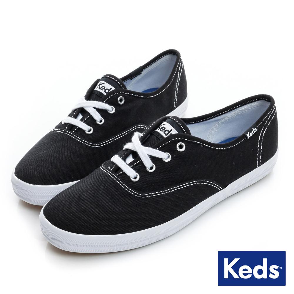 Keds 品牌經典綁帶休閒鞋-黑色