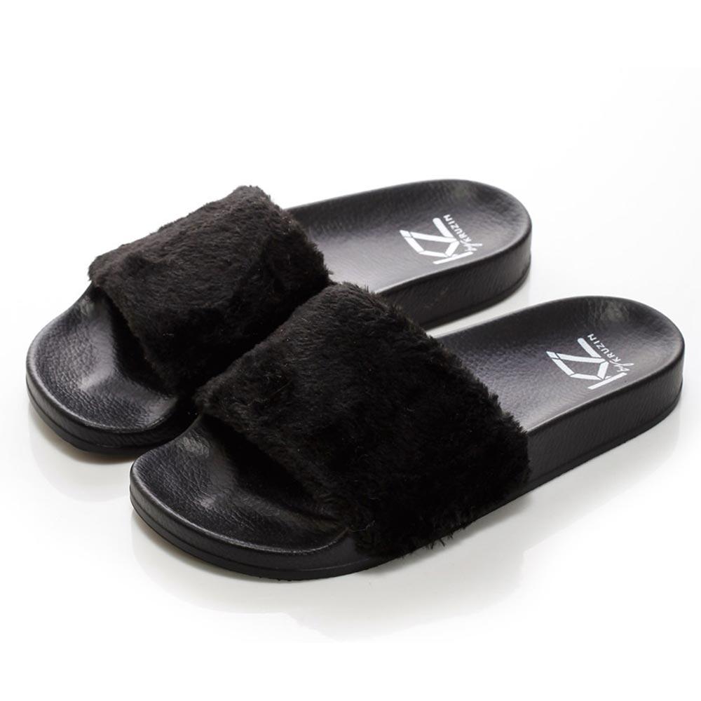 (女)KRUZIN 奢華毛毛拖鞋-黑