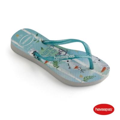 Havaianas 哈瓦仕 拖鞋 夾腳拖 人字拖 冰雪奇緣 巴西 童鞋 兒童 白/綠 4137266-1049K Kids Slim Frozen