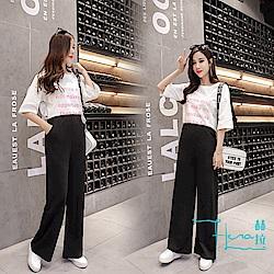 Lockers 木櫃 韓版高腰闊腿休閒女長褲