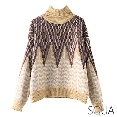 SQUA 高領圖騰刷毛針織上衣