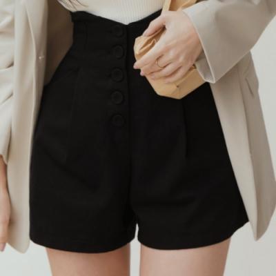AIR SPACE LADY 高腰排釦顯瘦鬆緊短褲(黑)