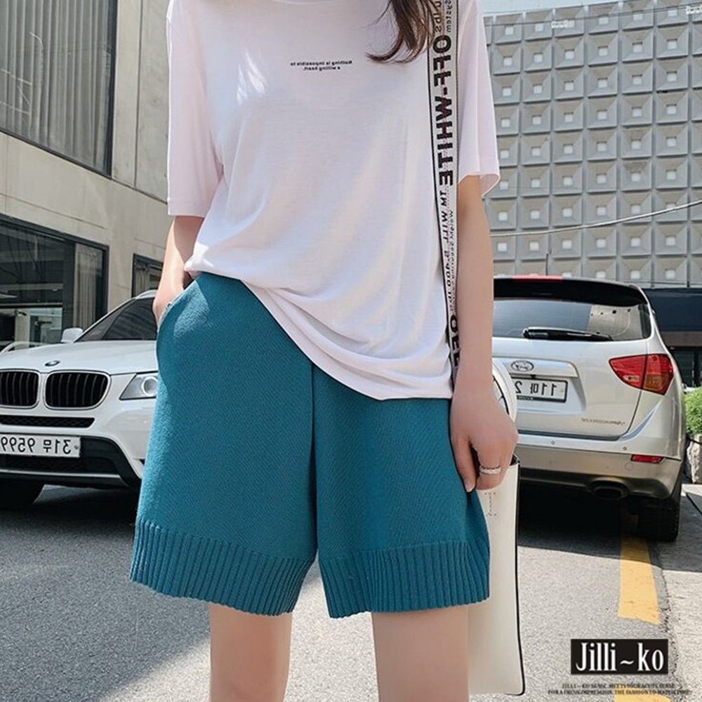 JILLI-KO 螺紋鑲邊針織短褲- 藍/白