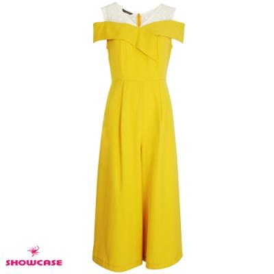 【SHOWCASE】V領蕾絲拼接挖肩飄逸修身雪紡連身褲(黃色)
