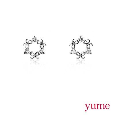 YUME - K金 sweet蝴蝶結小圈耳環