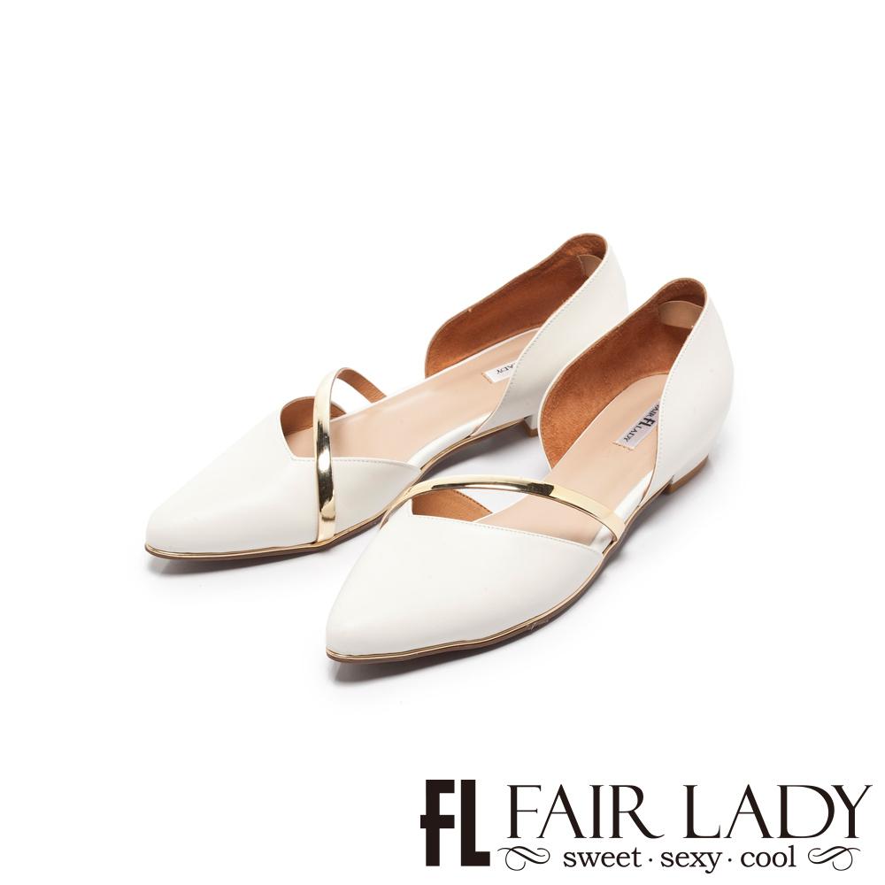 FAIR LADY 優雅小姐Miss Elegant金屬斜帶側挖空尖頭低跟鞋 白