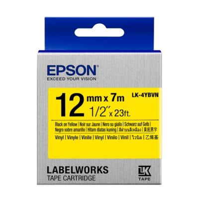 EPSON C53S654480 LK-4YBVN產業標籤帶耐久型(寬度12mm)黃底黑字