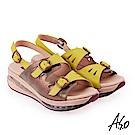 A.S.O 超能力 金箔亮麗皮革雙扣奈米鞋墊休閒涼鞋 黃