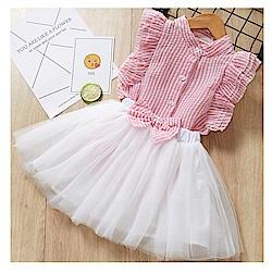 【韓品童裝】女童 中小童無袖襯衫蝴蝶結泡泡紗兩件式洋裝